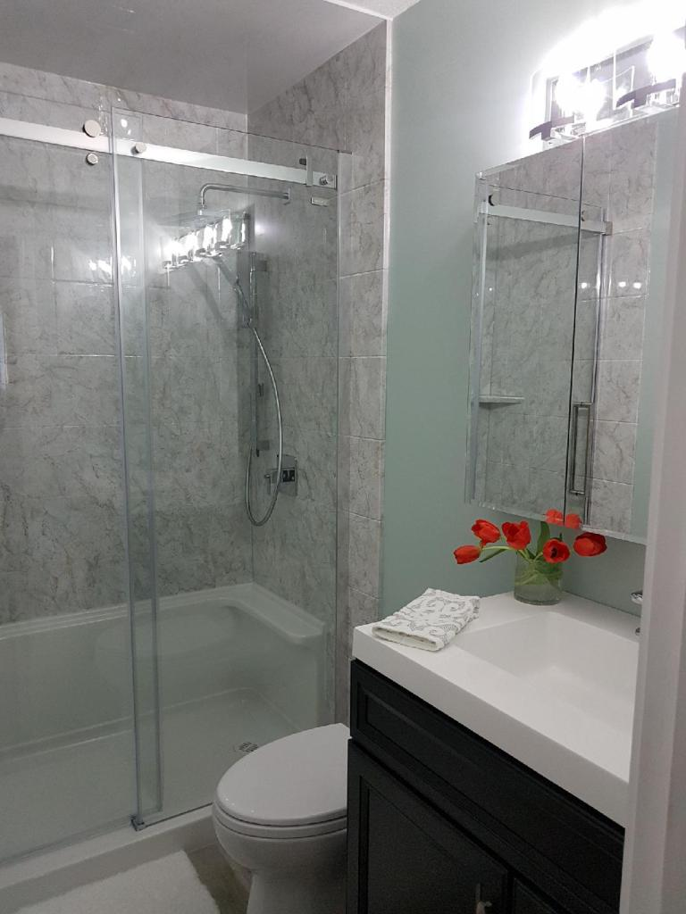 Shower with a Grey Stone Finish by Cassidy Dahl, Dahl Tubs, Prince George